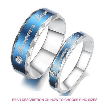 His and Hers Forever Love Engraved Cubic Zirconia CZ Diamond Anniversary Titanium Couple Band Rings (TWO RINGS)