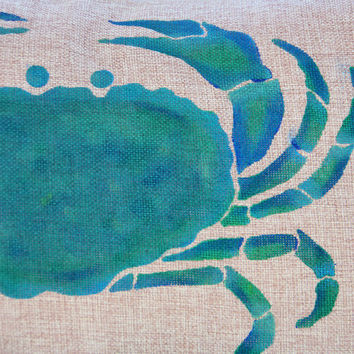 Green and Blue Crab Pillow Hand Painted on Faux Bulap Fabric Coastal Accent Pillow Beach Decor Nautical Ocean Sea Life Pillow