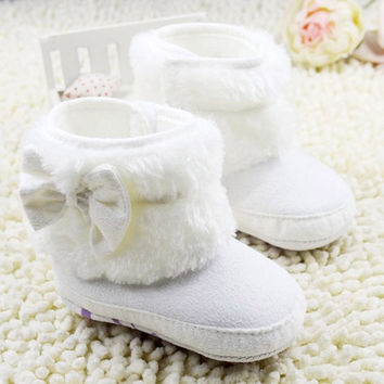 Cute Baby Warm Snow Boots Girl Prewalker Crib Shoes Toddler Infant Boots = 1946678276