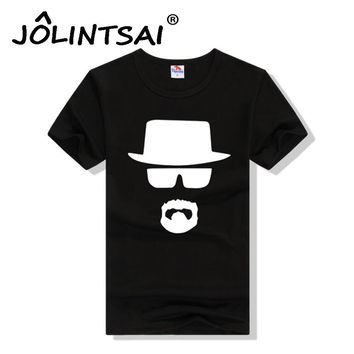 New Brand Fashion Slim Men T-shirts Heisenbergs Breaking Bad Print Men T Shirts with Hat Glasses Short Sleeve O-Neck Tops Tee