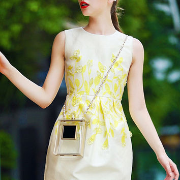 White and Yellow Sleeveless Beaded Floral Embroidered Pleated Mini Dress