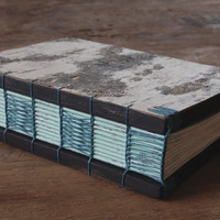 Handmade rustic birch journal or wedding guest book, mint teal turquoise