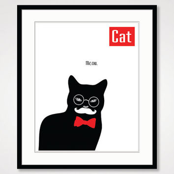 black and white print, illustration funny art, black cat art mustache animal poster quote kids wall art decor minimalist simple poster print