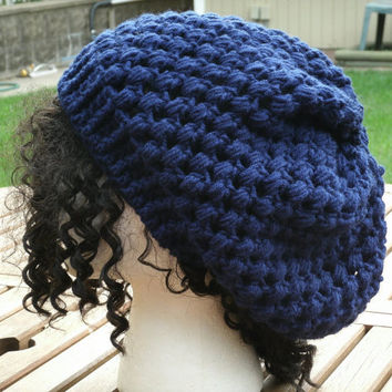 Hand Crochet Hat - The Puff Slouch in Navy - Toddler, Child, Teen, Adult
