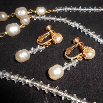 ... authorized site dcc1d 3f822 Miriam Haskell Necklace Earrings Baroque  Pearl Crystal Station ... 1fe791df0