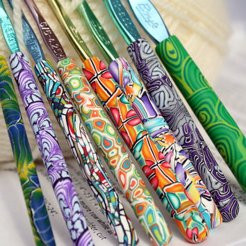 Polymer clay covered crochet hook set of 8, New Boye brand, Sizes D/3 through K/10.5, eight different designs, OOAK handmade