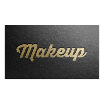Minimal Black & Gold Embossed Text Makeup Artist Business Card