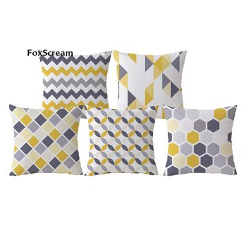 Yellow Decorative Pillows Geometric Pillows Case Gray Geometric Cushion Cover Home Decor Nordic Style Velvet Cushions for Sofa
