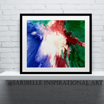 Giclee art print, 10 x 6 inches, Abstract Acrylic Painting Impacto,colorful abstract art,home decor, wall art,color red,white,blue and green