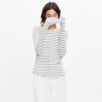 Whisper Cotton Long-Sleeve Crewneck Tee in Medora Stripe