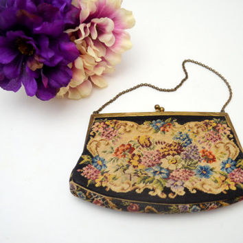 Exquisite Antique Petit Point Purse, Austrian, Vintage Needlepoint Tapestry Handbag, Includes Mirror, circa 1930s