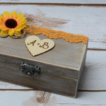 Rustic RIng Box Sunflower Wedding Ring Holder Ring Pillow Decoration RIng Bearer Personalized wedding box