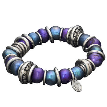 Stretchy Bracelet with Purple and Blue Baroque Pearl and Stainless Steel Rings