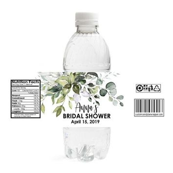 Greenery Bridal Shower Water Bottle Labels