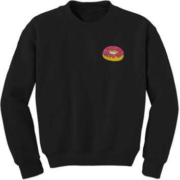 Embroidered Donut With Sprinkles Patch (Pocket Print) Adult Crewneck Sweatshirt