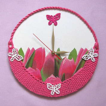 Wall Clock Basket of  Pink Tulips, Easter gift, flower clock, nursery wall clock,living room wall clock, gift for her,pink wall clock