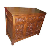 Indian Sideboard Chest Beautiful Floral Carved Antique Wooden Buffets India Home Decor