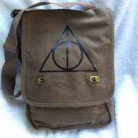 Deathly Hallows Messenger Bag Harry Potter Brown Canvas Messenger Bag