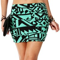 Mint/Black Banded Tribal Skirt
