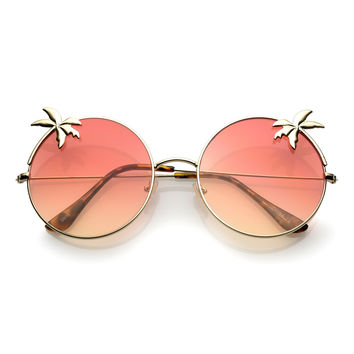 Indie Round Palm Tree Gradient Lens Sunglasses A528