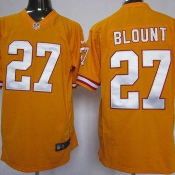 PEAPYD9 Nike Buccaneers #27 LeGarrette Blount Orange Throwback Mens NFL Game Jersey