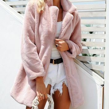 Lush And Plush Faux Fur Long Sleeve Long Coat Outerwear - 3 Colors Available