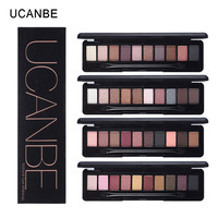UCANBE brand makeup 10warm colors eyeshadow palette practical matte pigment eye shadow daily elegant nude make up set with brush
