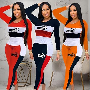 PUMA Women Fashion Letter Pullover Sweater Pants Set Two-Piece