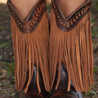 Dusty Dirt Road Fringe Boots: Dark Brown/Rust
