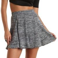 Marled Sweater Knit Skater Skirt by Charlotte Russe - Black Combo