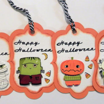 Handmade 3D Halloween Ghouls Gift Tags, Treat Bags and/or Favors Set of 4
