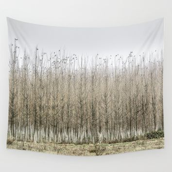 Wild birds. Foggy sunrise Wall Tapestry by Guido Montañés