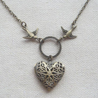 Brass heart  locket necklace with bird and ring