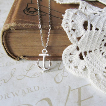 AHOY anchors away sailor necklace silver by brideblu on Etsy