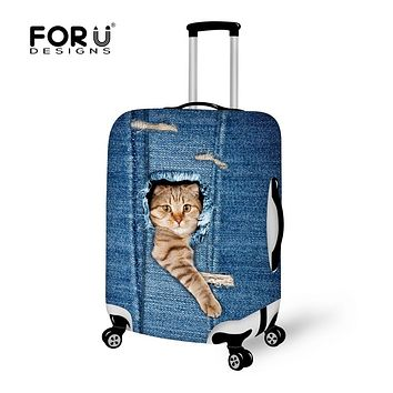 FORUDESIGNS Denim 3D Cat Animal Travel Suitcase Luggage Protective Covers With Zipper Thick Elastic Baggage Cover For 18-30 Inch