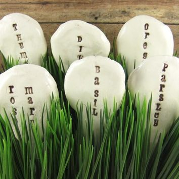 Garden Herb Markers Set of SIX Made to Order