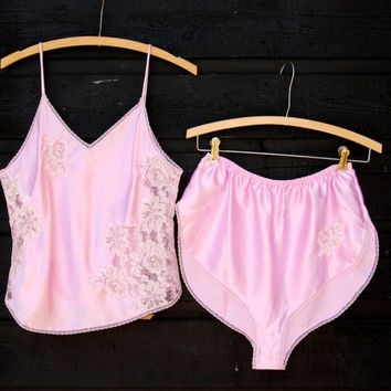 70s 80s PINK Lingerie Set, Satin Cheeky High Waisted Shorts and Lace Camisole Top, Babydoll Nightie, 2 piece Vintage Nightgown Lingerie