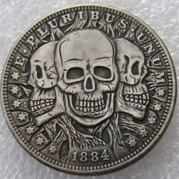 US 1884 Morgan Dollar Three Heads Skull Zombie Skeleton Hand Carved Copy CoinsHigh Quality