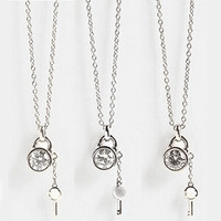 Famous Brand Letter Kors Lock Chains Necklaces Gold Silver Rose Gold Alloy Link Chains Key Pendant Necklaces For Women Gift