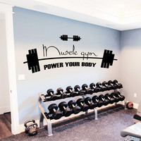 Wall Decal Quotes Sport Body-Building Muscle Gym Power Your Body Design Wall Decals Gym Playroom Living Room Bedroom Home Decor 3890