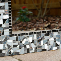 Custom Wall Mirror, Black Gray White Mosaic