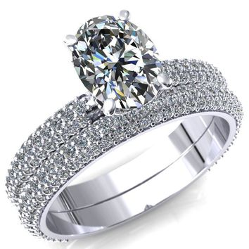 Adina Oval Moissanite 4 Prong Diamond Accent Engagement Ring