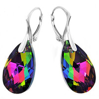 "Royal Crystals ""Made with Swarovski Crystals"" Multicolored Teardrop Leverback Earrings"
