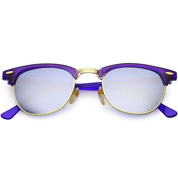 Retro True Vintage Candy Color Half Frame Mirrored Lens Sunglasses C638