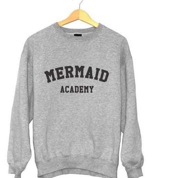 MERMAID ACADEMY Funny Letters Printed Women Hoodies Winter Casual Crewneck Sweatshirt Long Sleeve Couple Gray Hoodies Pullover