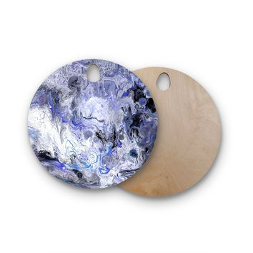"Catherine Holcombe ""Purple Marble"" Purple Black Abstract Geological Painting Round Wooden Cutting Board"