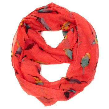 Bird Print Infinity Loop Scarf in Red