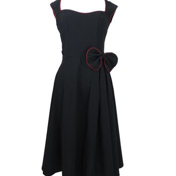 Rockabilly Pinup Vintage Style 60's Black Belted Flare Party Dress with Bow