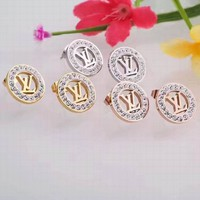 LV Women Fashion Diamonds Hollow Out Stud Earring