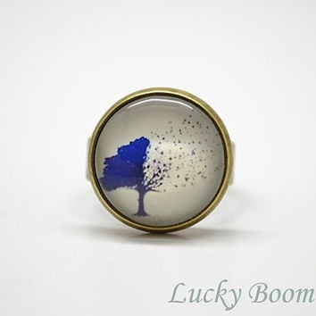 Tree Ring - Trees Glass Dome Ring - Tree Jewelry - photo ring - nature jewelry - Adjustable ring R1
